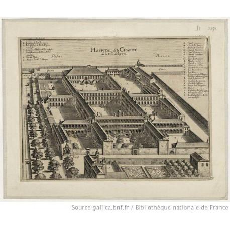 La gravure de l'ensemble de l'hôpital de la Charité.